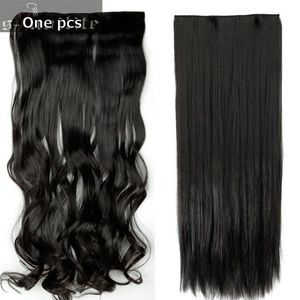 """Accessories - 1Pcs 5 Clips Wave Curly Hair Extensions 29"""" #1B"""